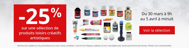 25% sur une sélection de produits loisirs créatifs artistiques